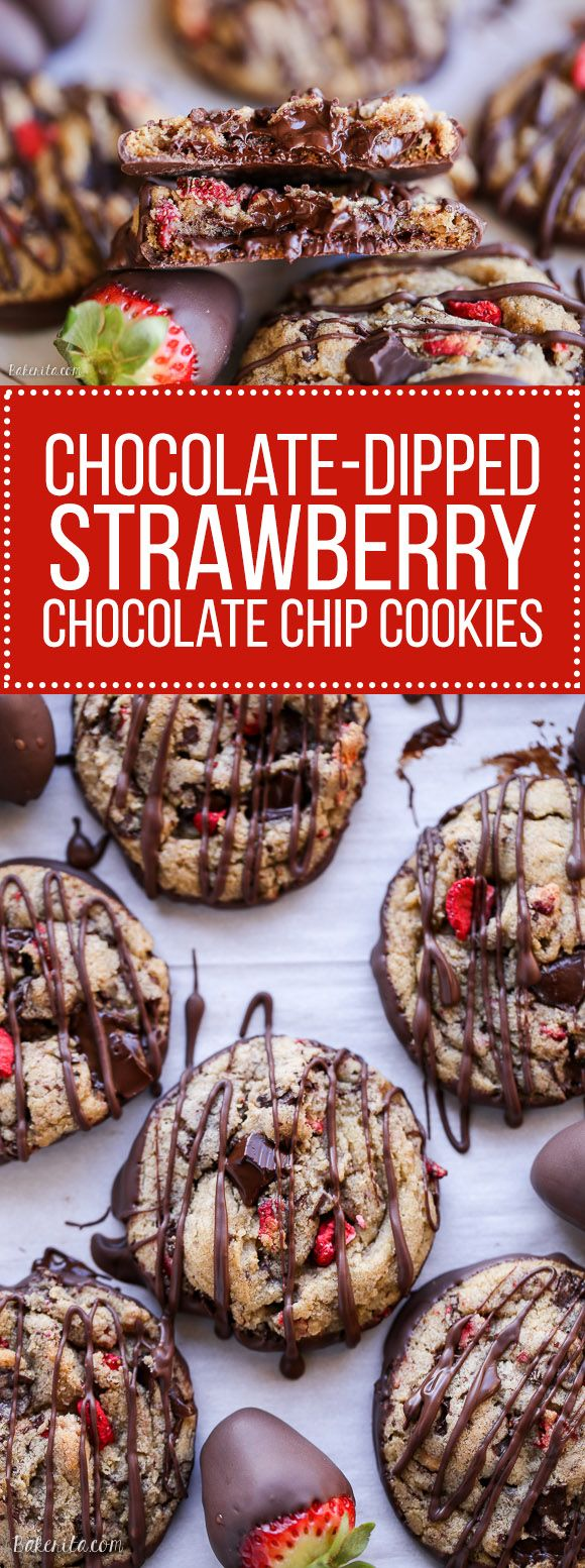 These Chocolate-Dipped Strawberry Chocolate Chip Cookies are soft + chewy cookies full of freeze dried strawberries and chocolate chunks, dipped and drizzled with dark chocolate. #ReynoldsCrowd #ad