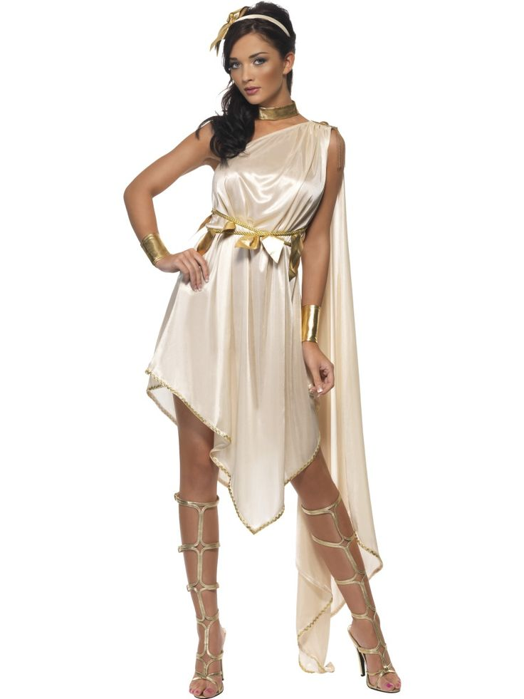 Fever Greek Goddess Costume £38.99  This Fever Goddess Costume comes with Dress, Belt, Armcuffs, Choker and Headpiece. Perfect outfit for that Toga Party. Certainly looks better than an adapted sheet!