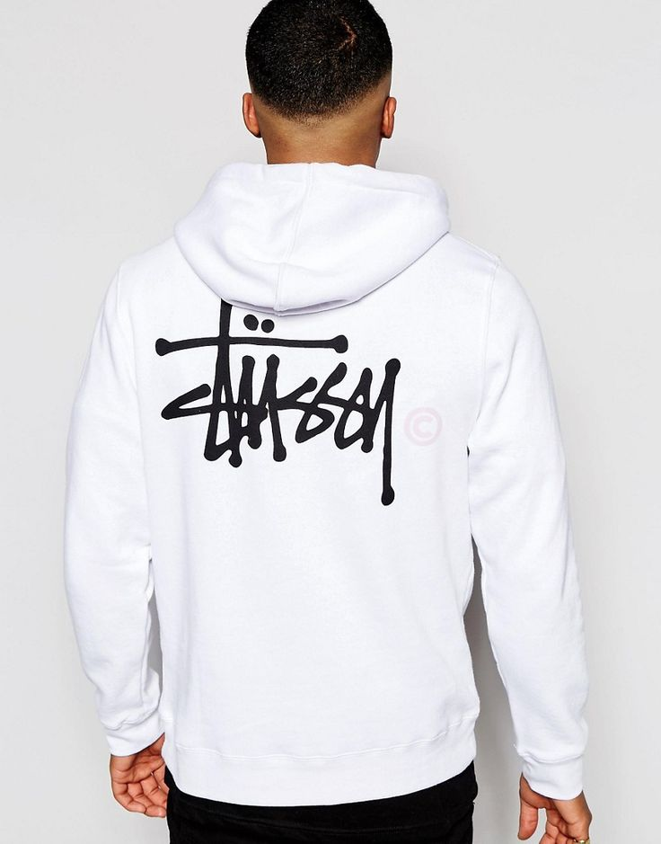 #Stussy - Sweat à capuche blanc avec logo imprimé dans le dos