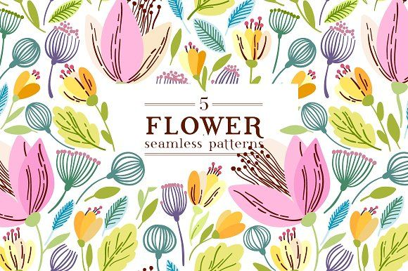 Flaral pattern in 5 colors by Maria Galybina on @creativemarket beautiful seamless pattern with flower