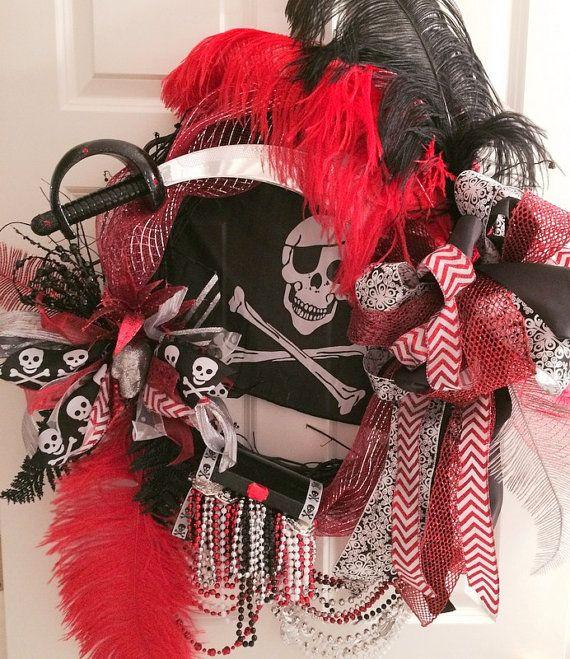 Silver Black and Red Gasparilla Wreath by WenchesandWreaths, $160.00