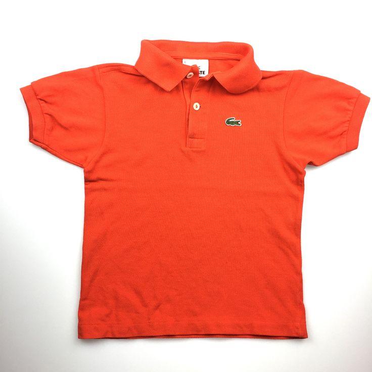 LACOSTE, orange polo shirt, fair pre-loved condition (FUC), boy's size 6, $12 #kidsfashion #boysfashion #Lacoste