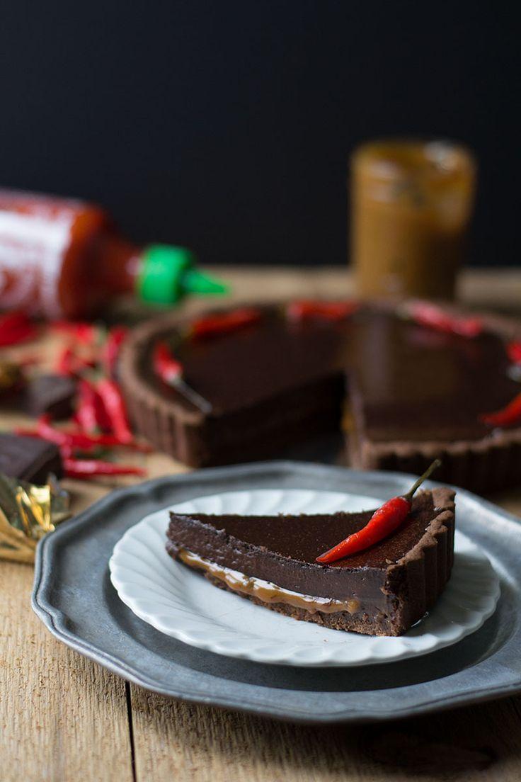 Sriracha Chocolate & Dulce de Leche Tart | siftandwhisk.com