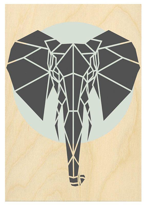Art Print Geometric Elephant Print Contemporary By