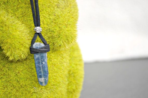 Raw Kyanite Necklace Suede Leather Crystal Necklaces Chakra Healing Jewelry Festival Necklace Leather Beach Necklace By Indigo Lizard