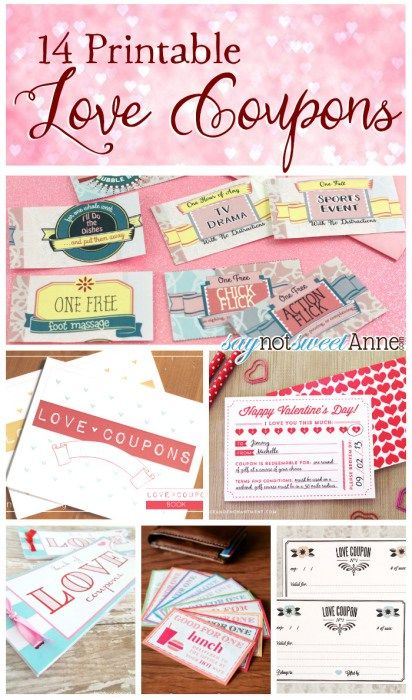 14 awesome and Free Printable Love Coupons from saynotsweetanne.com