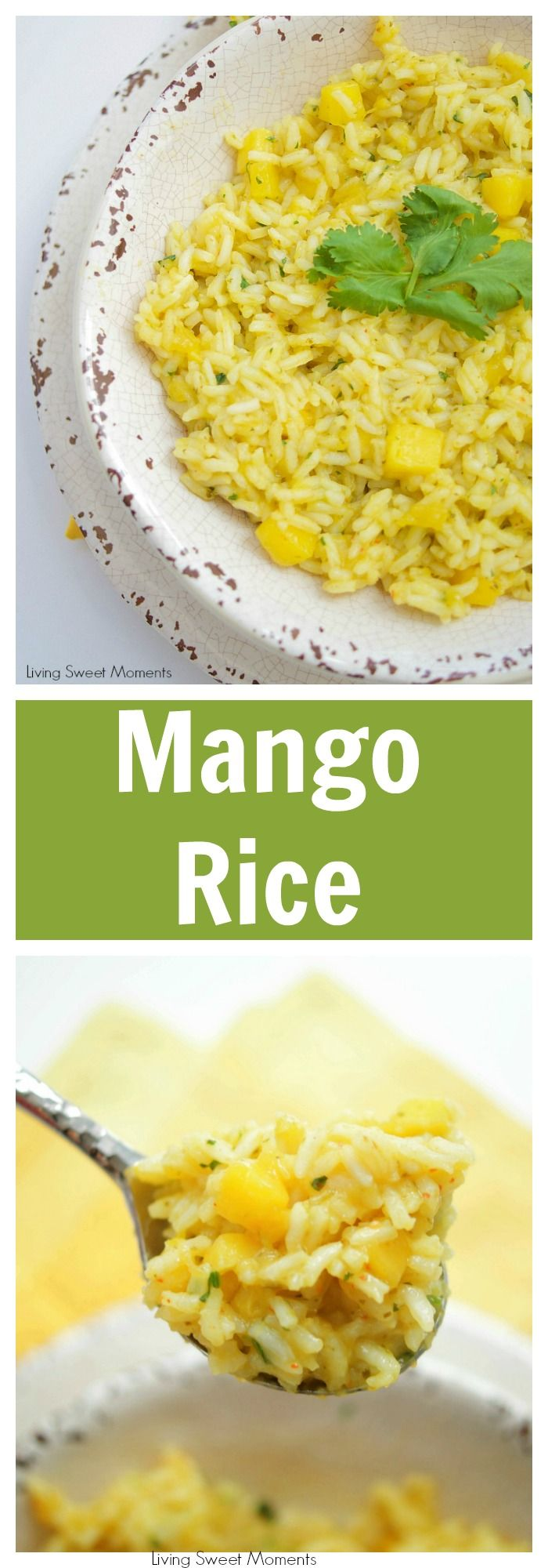 This Spicy Mango Rice recipe is easy to make and delicious. The perfect side dish to any dinner or for entertaining. Made with chili, cilantro, lime & mango #ad