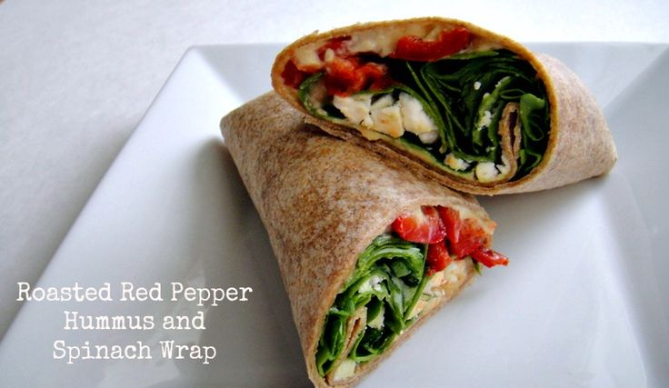 Roasted red pepper hummus and spinach wrap. 269 Calories 7 WW Points+ Delish! #lunchideas #backtoschool