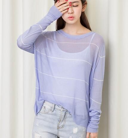 Purple and white striped t shirt for girls batwing sleeve tops