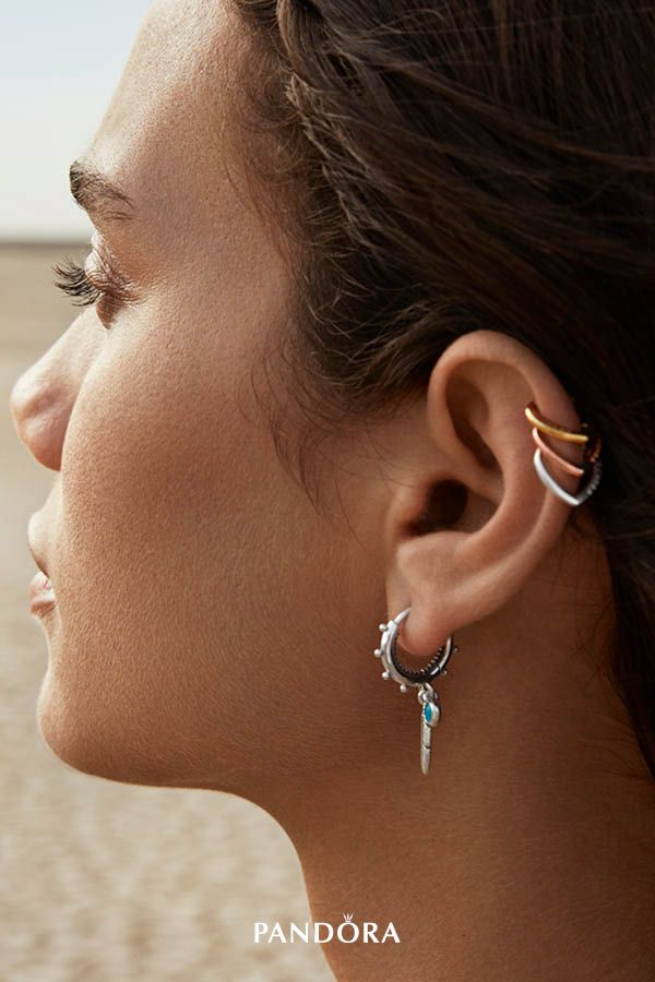 d437800dc Mix feather-inspired hoop earrings with heart-shaped ear cuffs and play  with textures and materials, from cool sterling silver to blush pink PANDORA  Rose ...