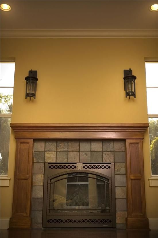 craftsman fireplace with slate tile - great way to simply update a fireplace front that is blah