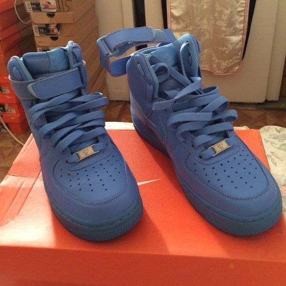 Nike Uptowns (Air Force Ones) Beauty Blue Ups!! Rare Limited Edition Air Force Ones (Only Worn Once For Event) Nike Shoes Sneakers