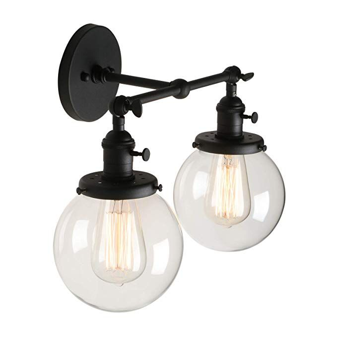 For Guest Bath Pathson Vintage 2 Light Wall Sconce With Globe Clea Industrial Vanity Light Fixture Vintage Bathroom Light Fixtures Vintage Bathroom Lighting