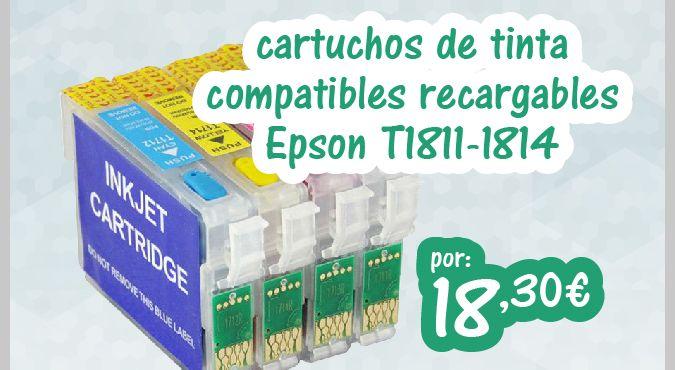 T1811 - T1814 Cartucho de #Tinta Compatible Vacio Autoresetable. http://www.opirata.com/es/t1811-t1814-cartucho-tinta-compatible-vacio-autoresetable-p-37771.html