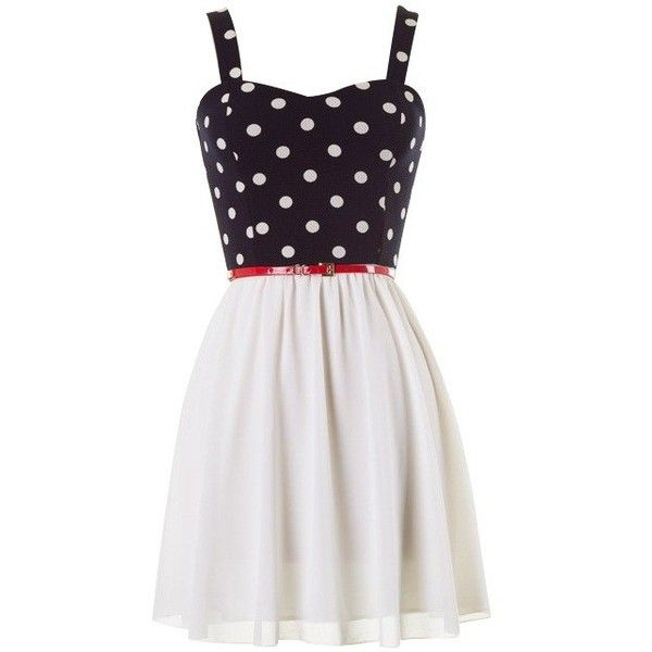black and white polka dot skater dress with red belt ($29) ❤ liked on Polyvore