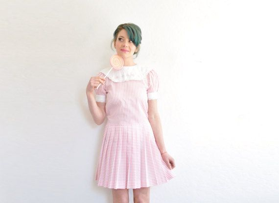 pink candy striper dolly dress . 1980 sweet shoppe little by DOTTO