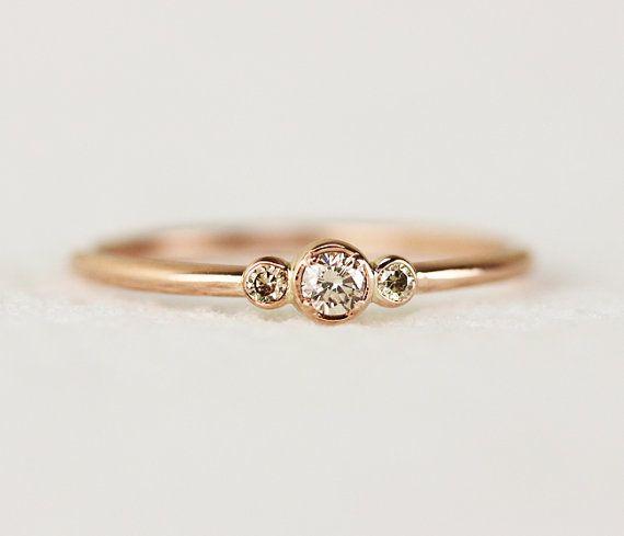 Three Stone Champagne Diamond Engagement Ring,Thin 3 Stone Dainty Bezel Set Engagement Ring,Three Stone Bezel Champagne Diamond Ring