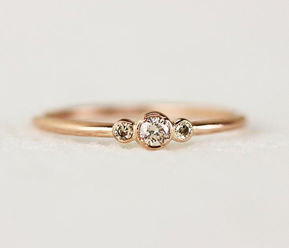 Three Stone Champagne Diamond Engagement RingThin 3 by KHIMJEWELRY