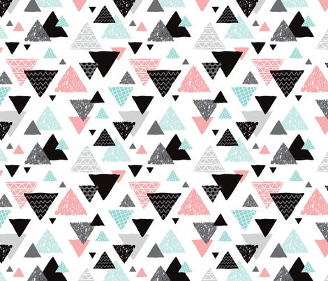 Geometric triangle aztec illustration hand drawn pattern mint and pink fabric by…
