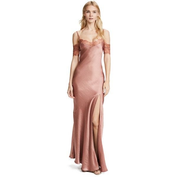 be874a652e Nicholas Satin Bias Slip Dress ($700) ❤ liked on Polyvore featuring  dresses, rust, lace insert dress, side slit dress, satin slip dresses,  lining dress and ...