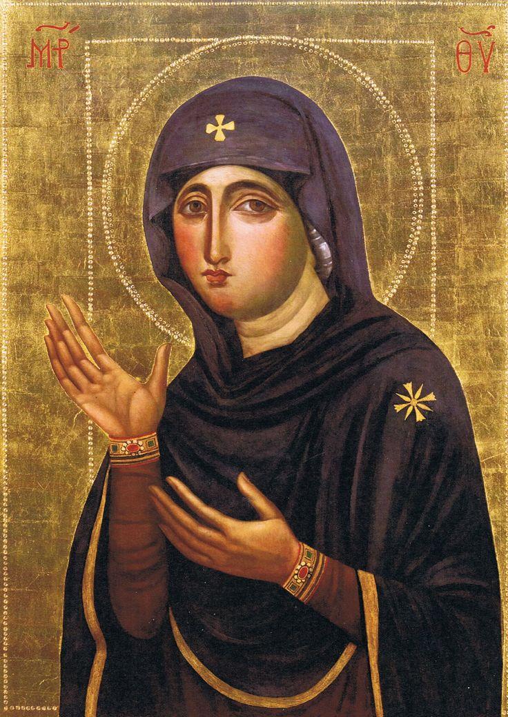 """ΜΡ.ΘΥ__Παναγια """" η Αγιοσορίτισσα"""".  Η μοναδική βυζαντινή εικόνα της Παναγίας Ζωγραφίστηκε στην Κωνσταντινούπολη τον 7ο αιώνα. Η πρωτότυπη ήταν αχειροποίητος ή του Ευαγγελιστή Λουκά και φυλασσόταν στον ναό των Χαλκοπρατείων στην Κωνσταντινούπολη μαζί με το θεομητορικό κειμήλιο της Αγίας Ζώνης (Αγία Σορός), από όπου πήρε και το όνομά της.   (  Haghiosoritissa"""