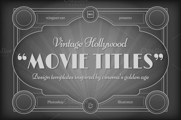 Posted by @newkoko2020 Vintage Hollywood Movie Titles by wingsart on @creativemarket