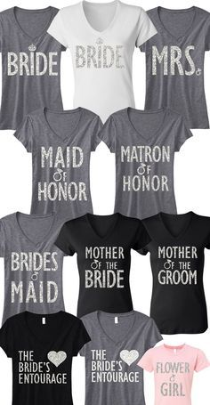 Pick Any 7 #BRIDE / #WEDDING SHIRTS (Bride, MRS, Maid of Honor, Bridesmaid, Flower Girl, etc!) & Get 15% Off Bundle Deal + FREE MRS. Tote -- By #NobullWomanApparel, for only $148.95! Click here to buy http://nobullwoman-apparel.com/collections/bridal-shirt-packages/products/bride-wedding-7-shirts-15-off-bundle