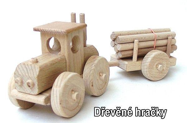 Dřevěné hračky lestní traktor