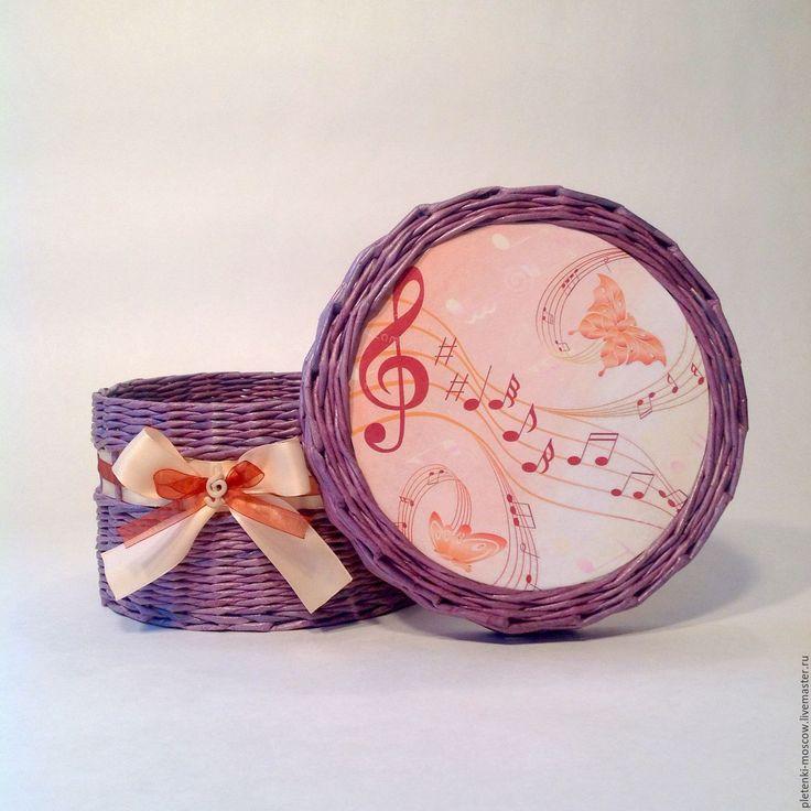Купить Шкатулка из бумажной лозы Звуки музыки - сиреневый, музыка, скрипичный ключ, ноты