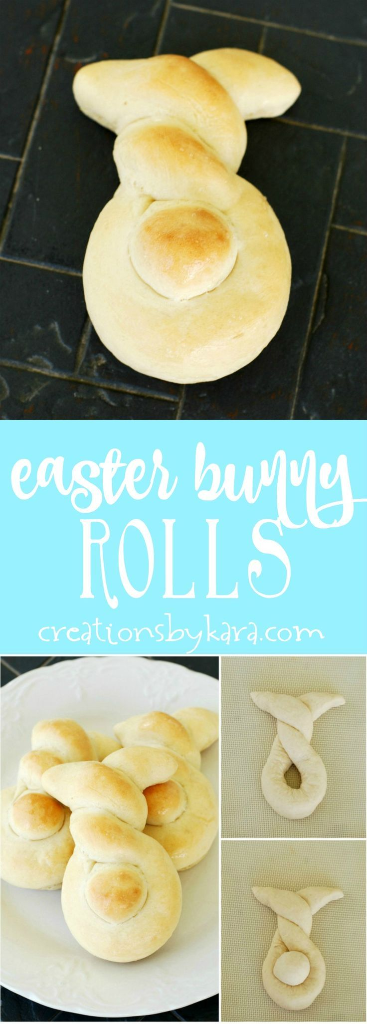 Make Easter dinner more fun with these cute Easter Bunny Rolls. They are perfect for Easter brunch too! via http://creationsbykara.com