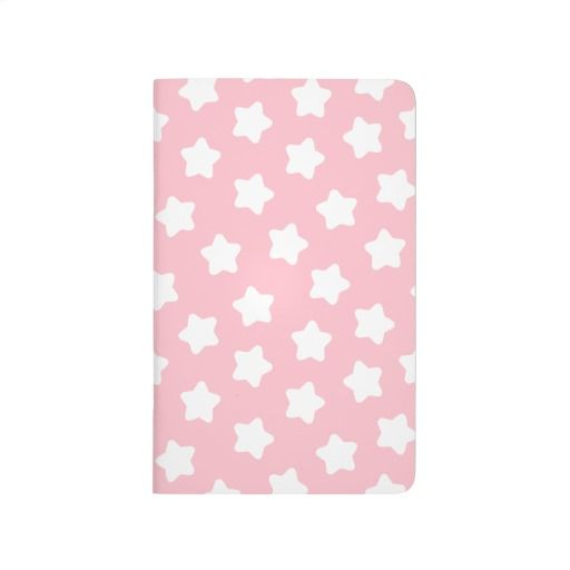 Cute Baby Pink Star Pastel -Colored Customizable Pocket Journal