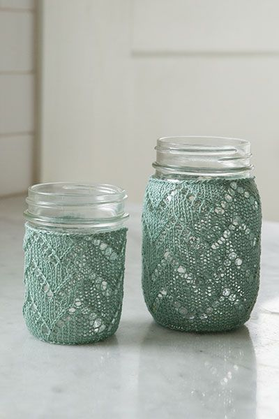 Chevron Mason Jar Cozy from Retro Kitchen Knits