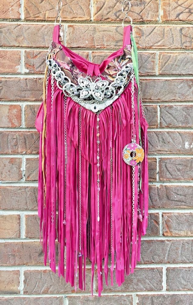 Handmade Magenta Leather Fringe Cross Body Bag Hippie Boho Hobo OOAK Purse B.Joy  | eBay