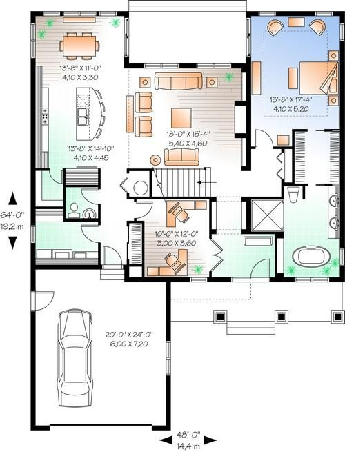 16 best images about courtyard house plans on pinterest for Craftsman floor plans with basement