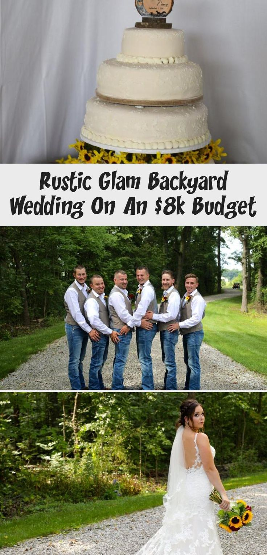 Rustic Glam Backyard Wedding | The Budget Savvy Bride | Wine bridesmaid dresses from David's Bridal | burgundy wedding | sunflower bridal bouquet