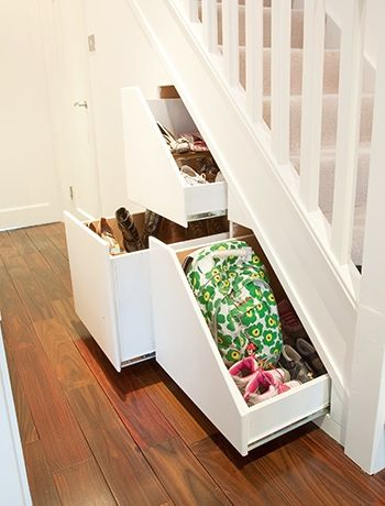 Install clever storage draws -  under the stairs, storage ideas, ideas for alcoves, hall way
