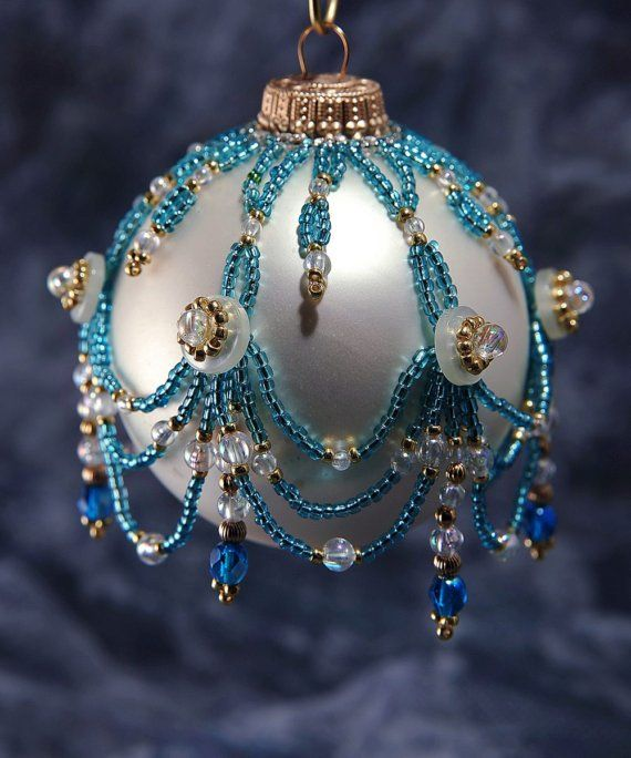 Beaded Ornament Cover-i have no idea why somwon would put a cover on an ortamant-but it looks cool