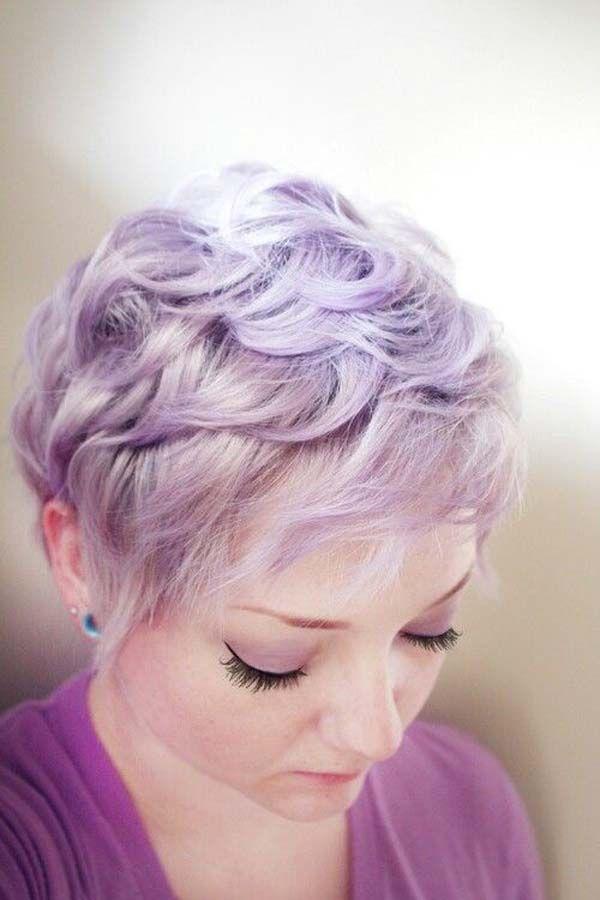 lilac pastel pixie cut