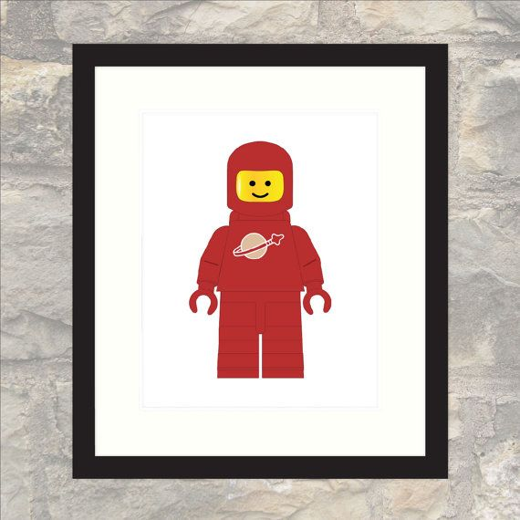 Classic Red Spaceman Print  Nursery or Child's by paper4download