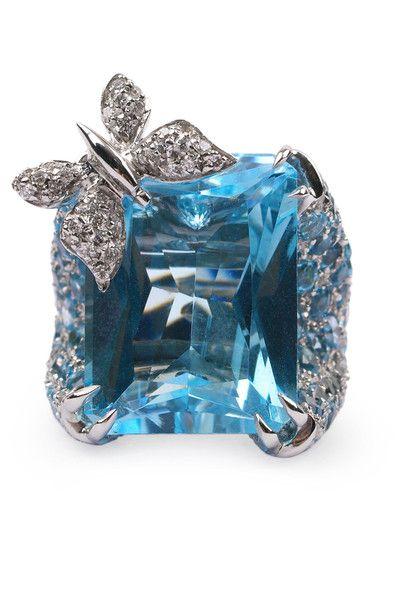 Blue Sapphire & Diamond Butterfly Ring