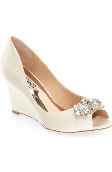 Badgley Mischka 'Dara' Crystal-Encrusted Peep-Toe Wedge (Women) available at #Nordstrom