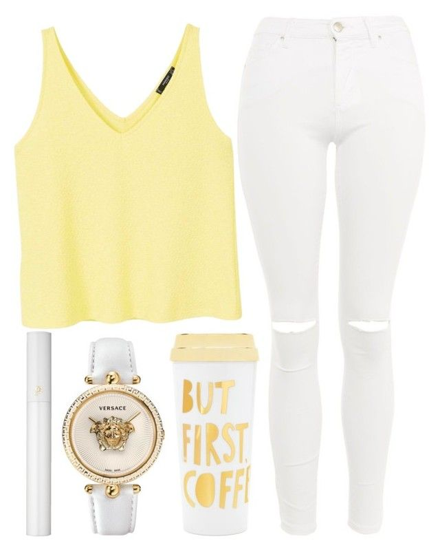 coffee date by j-n-a on Polyvore featuring polyvore fashion style MANGO Topshop Versace Lancôme ban.do clothing