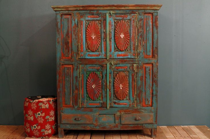 ANNIVERSARY SALE Antique Distressed Multi Color Blue Red Indian Door Modern Concept Red Distressed Furniture