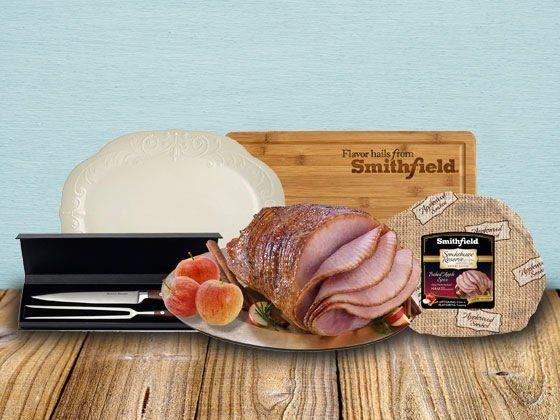 Win a $135.00 Smithfield Smokehouse Reserve Baked Apple Spice Spiral Sliced Ham, Smithfield Engraved Carving Board, Carving Knife and Fork Set and Serving Platter. Enter now.