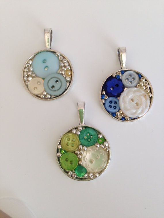 Button Art Pendant by RelovedButtons on Etsy, £12.00