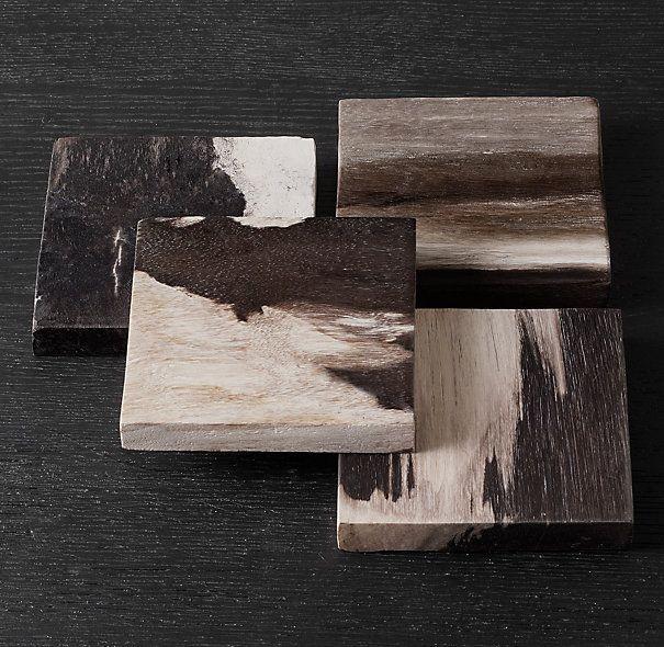 Petrified Wood Coasters Dark. Restoration Hardware. Wood but look and feel like…