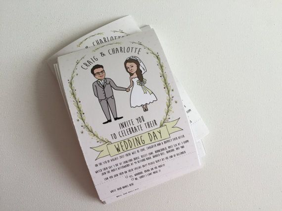 *About this product Looking for alternative or quirky wedding invitations? Dont be the same as everyone else, have us turn you both into cartoons on the invites! This is unique and different from everything else on the wedding invitation market. These adorable wedding invites have a rustic theme and can be changed to match in with your own wedding colour theme. They can make great keepsakes for after the wedding for family of the bride and groom as they feature your faces hand-drawn into a…