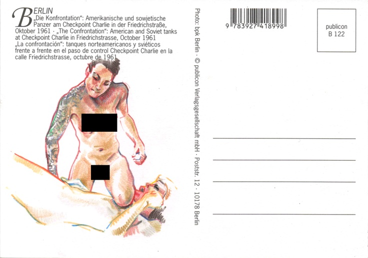 Die Kronfrontation. Crayon on a postcard. please visit www.rubicane.com to see the uncensored image.