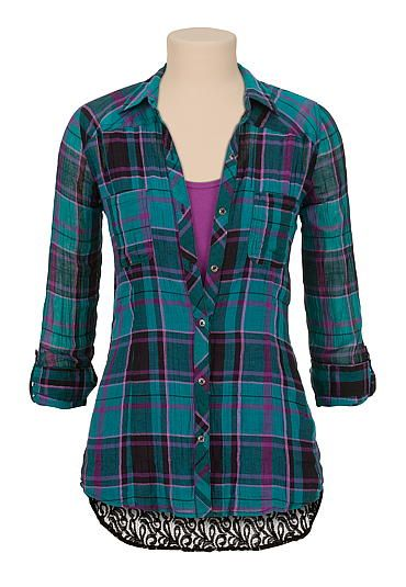 Lace back plaid button down shirt (original price, $29) available at #Maurices