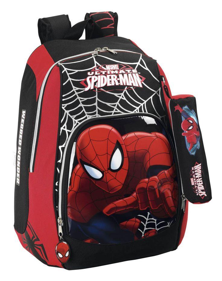 Mochila Spiderman 43 cm Estupenda y práctica mochila de hasta 43 cm con la imagen del popular héroe Spiderman, uno de los más queridos 100% oficial y licenciada. Ideal como regalo para la vuelta al cole.